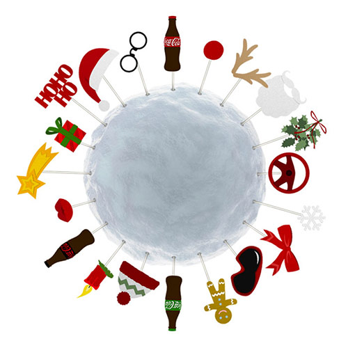 Coca-Cola Kampagne Weihnachts-Selfie 2016 // Props-Schneekugel aus dem Deko-Tool